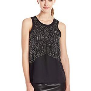 Sanctuary Beaded Graphic Shell Sleeveless Top